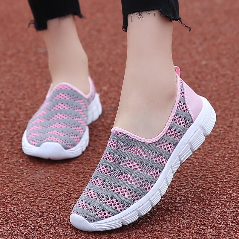 Women Flat Shoes Air Mesh Comfortable Loafers Women Striped Beautiful Sports Shoes For Women Casual Rubber Shallow