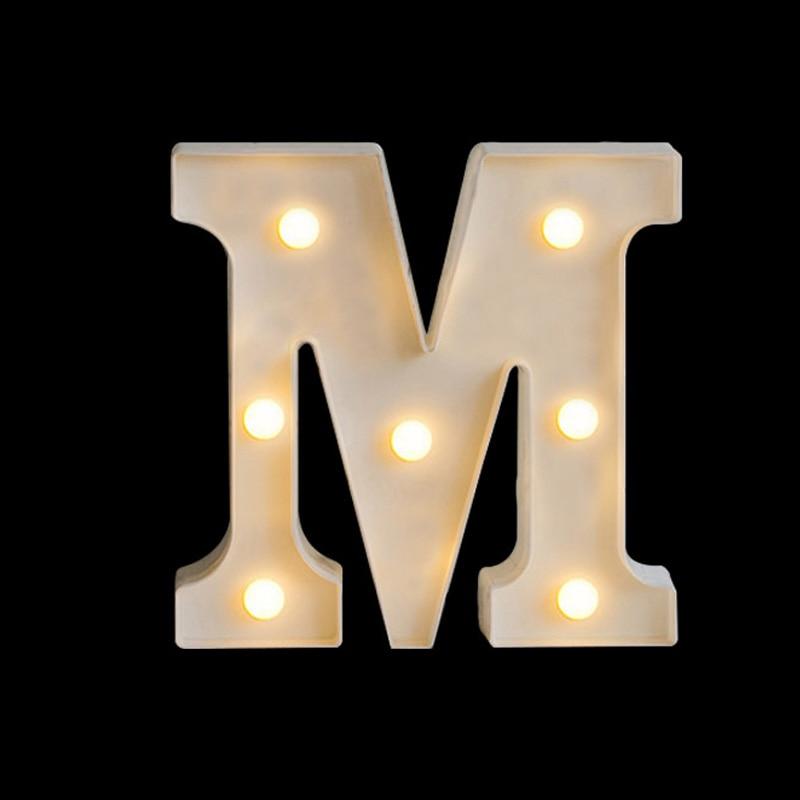 Luminous LED Letter Night Light Creative 26 English Alphabet Battery Lamp Romantic Wedding Party Decoration Christmas Gift 16cm