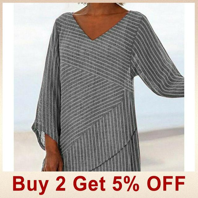 Jocoo Jolee Spring Plus Size Striped Long Sleeve V Neck Linen Baggy Blouse Shirt Ladies Summer Tunic Tops Casual Loose Shirt 2