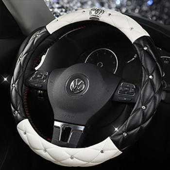 Leather Universal Car Steering-wheel Cover 38CM Diamond Blingbling Auto Steering Car Wheel Cover Woman Car-styling Accessories