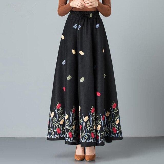 Mom elegant Embroidered Maxi pleated skirt Women Plus Size Winter Warm Woolen Long Skirt Lady High Waist Casual Wool Office saia 4