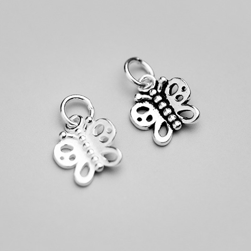 925 Sterling Silver Pretty Butterfly Dangle Charms Bracelets Decorations Silver Pendant DIY Fine Jewelry Accessories Supplier