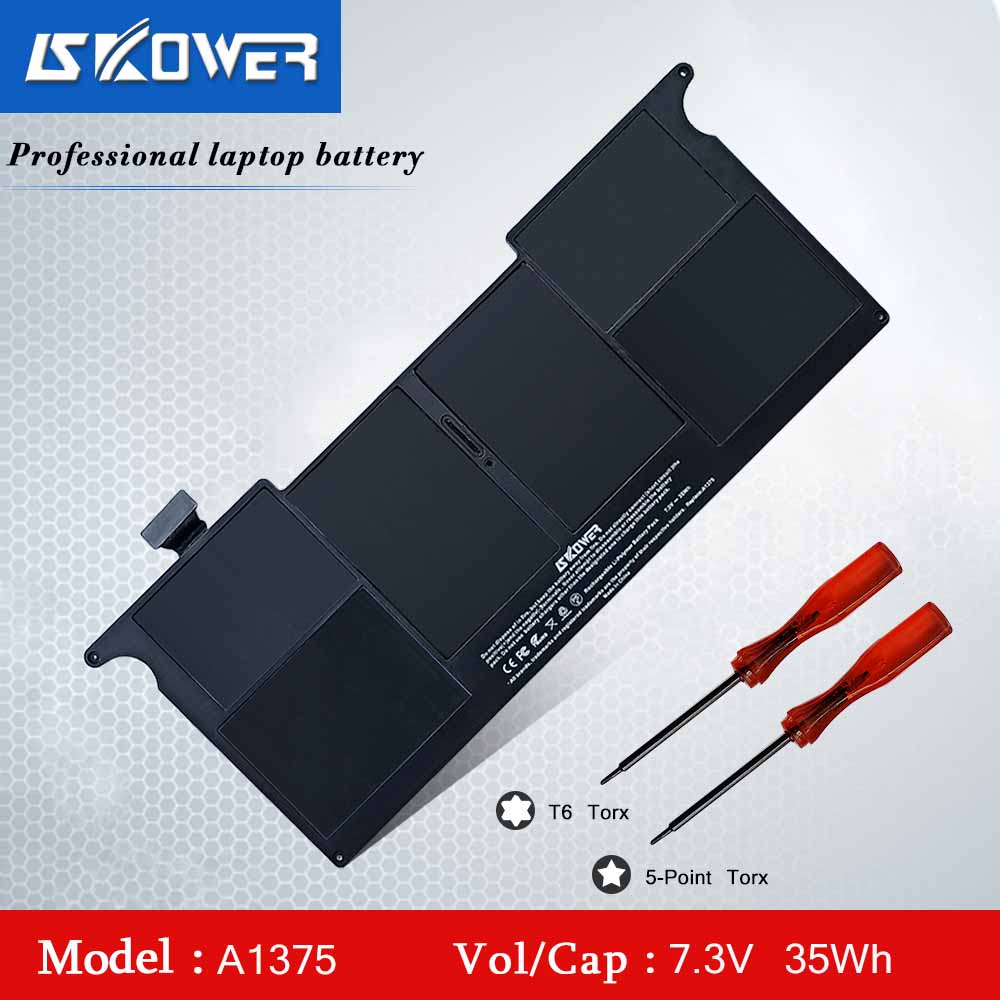 SKOWER A1375 Laptop Battery For Apple MacBook Air 11 Inch A1370 (Late 2010 Version) MC505 MC506  MC507LL/A 7.3V/35WH