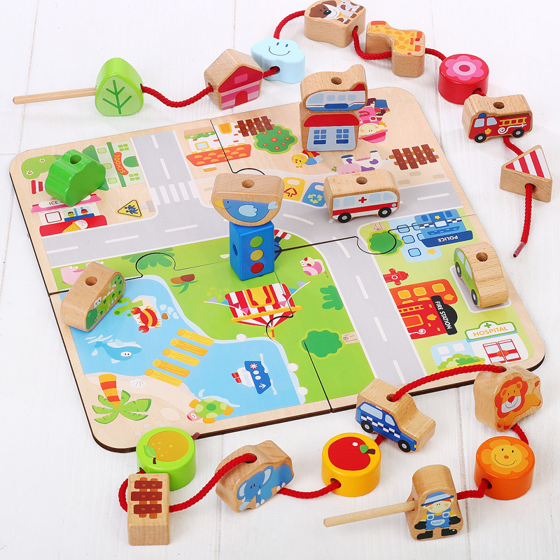 Baby Wooden Beads Toys Multifunction DIY Road Jigsaw Puzzle Lacing Stringing BeadsToy Kids Threading Beads Game Montessori Toys