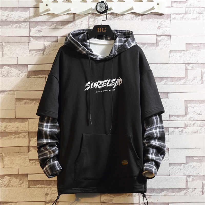 2020 herbst Frühling Schwarz Patchwork Hoodies MÄNNER Sweatshirts Hiphop Punk Streetwear Casual Pullover
