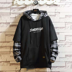 2021 Autumn Spring Black Patchwork Hoodies MEN'S Sweatshirts Hiphop Punk Streetwear Casual Pullover