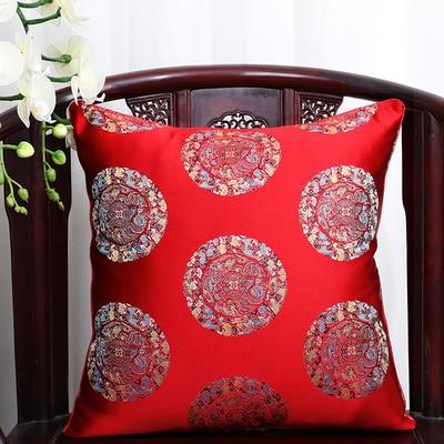 Чехол для подушки для автомобильного стула с цветами 40x40 см 45x45 см 50*50 60*60 китайские красочные диванные Декоративные Чехлы для подушек, шелковая атласная наволочка - Цвет: red 5 dragon