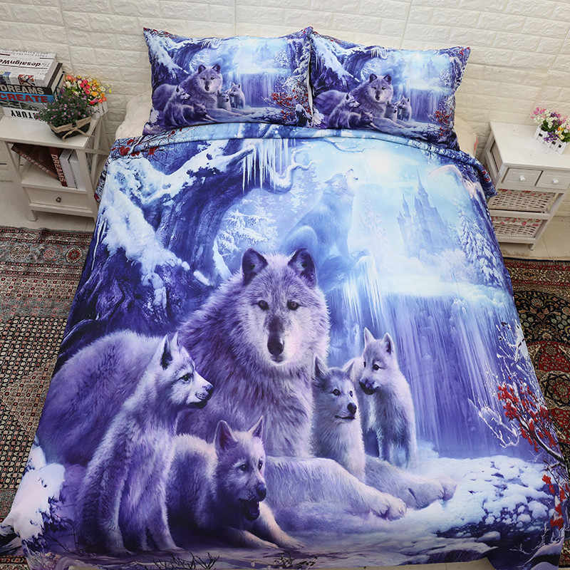Wolf Family Bedding Set Twin Queen Size 3D Animal Snow Wolves Pattern Duvet Cover with Pillowcases for Kids Teen Adults 3pcs
