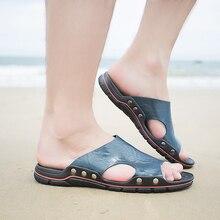 Dışında erkekler deri slaytlar terlik açık rahat terlik yaz düz ayakkabı plaj Chinelo slayt Masculino artı boyutu 4 renkler