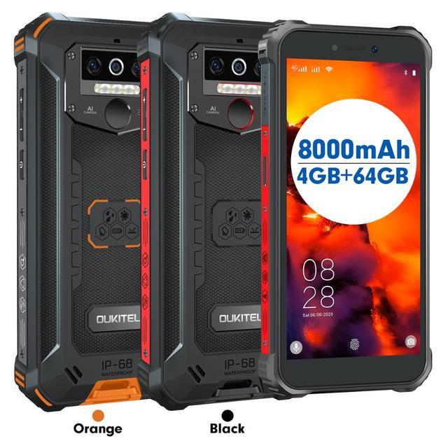 OUKITEL 4GB 64GB WP5 Pro Smartphone 8000mAh 5.5 Inches Android10 Mobile Phone Triple Camera Face/Fingerprint Unlock IP68 Phone 5