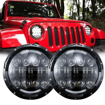 2PCS 80W Round LED Headlight with Hi-Lo Beam Amber Turn Signal for 07-14 Jeep Wrangler Unlimited JK 4 Door 03-09 Hummer H1 H2