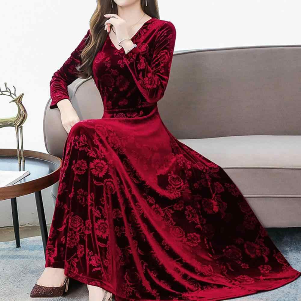 GloryStar kadınlar sonbahar kış v yaka uzun kollu orta elbise baskı mizaç parti noel elbise Ropa Mujer 11.11