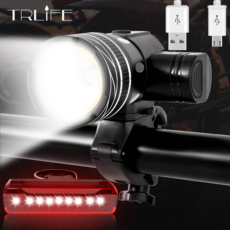2400Mah LED Bicycle Light 2000 Lumen 3 Modes Bike Light USB Charge Aluminum Alloy Cycling Light Waterproof Bike Accessory