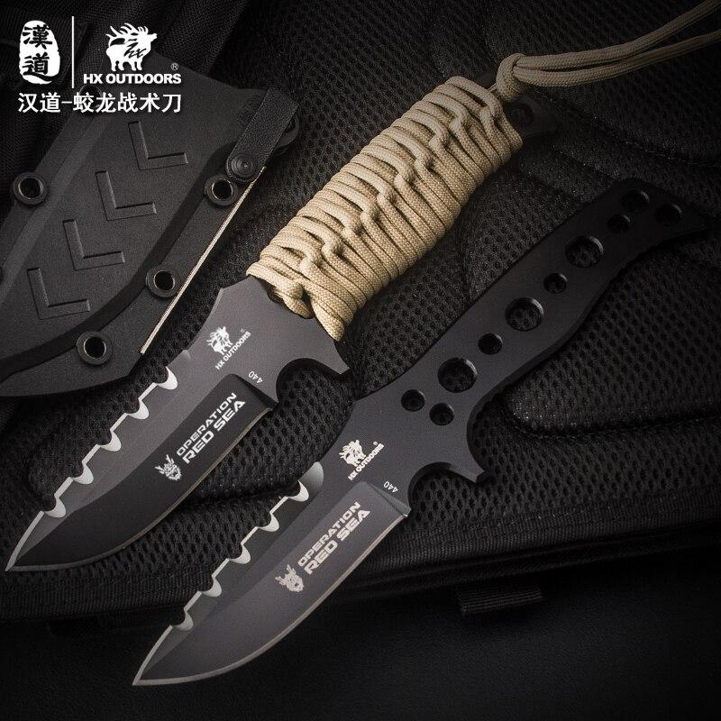 HX extérieur Long 440C couteau tactique Camping chasse couteaux survie poisson couteaux EDC outils avec gaine ABS livraison directe