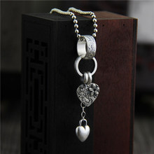 925 Sterling Silver Pendant with Heart Charm Flower Engraved Retro Vintage Ethnic Women Jewelry