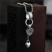 925 כסף סטרלינג תליון עם לב קסם פרח חקוק רטרו בציר אתני נשים תכשיטים