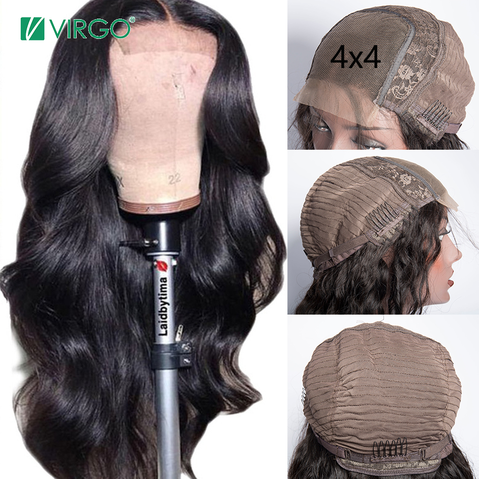 Virgo 4x4 Body Wave Lace Closure Wig Pre Plucked With Baby Hair Brazilian Human Hair Wigs For Black Women Remy Hair 10-26 Inch