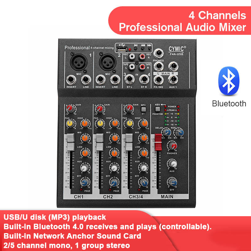 LEORY professionnel 4 canaux bluetooth DJ mélangeur son Console de mixage avec USB MP3 Jack Live Audio mélangeur pour karaoké KTV