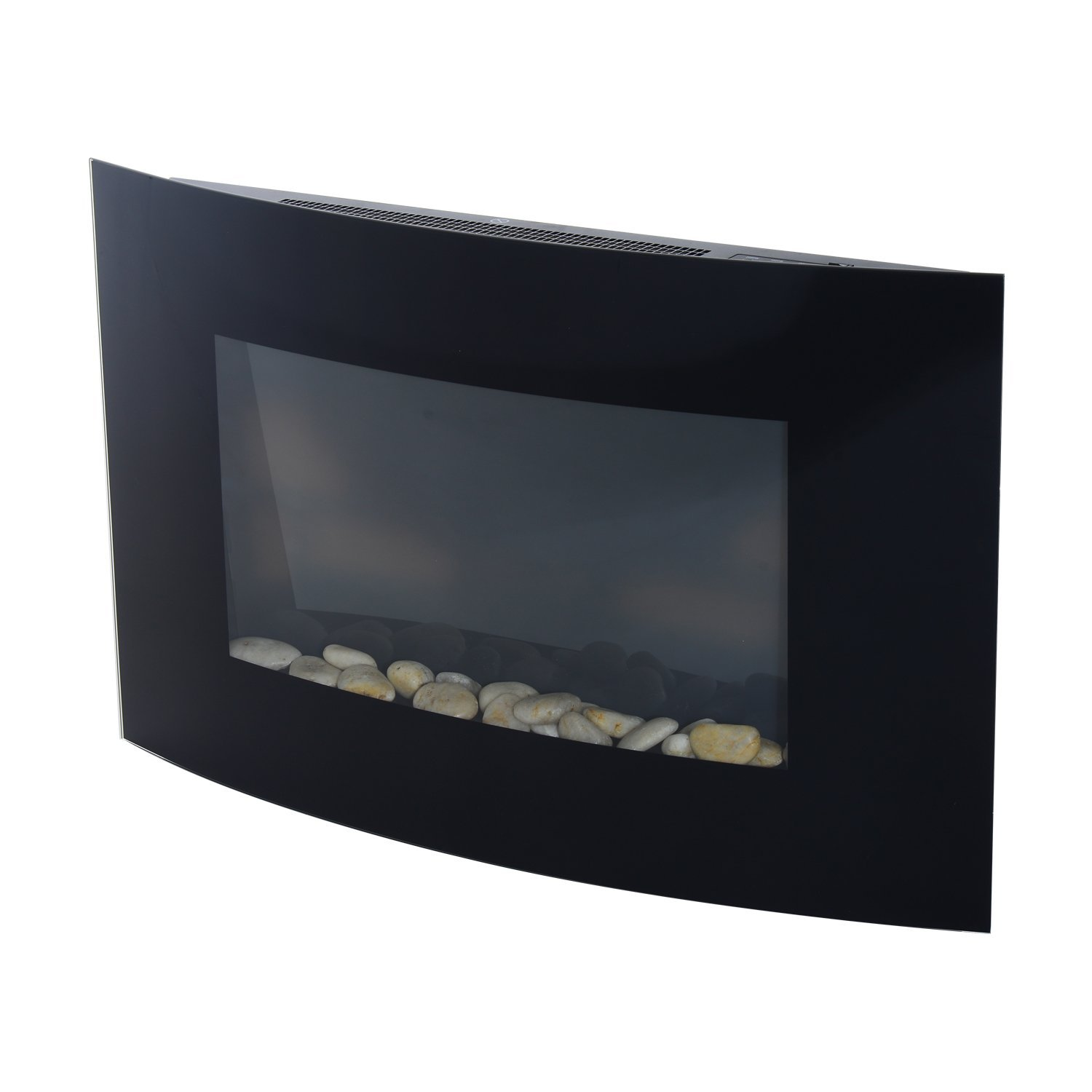 HOMCOM Stainless Steel Electric Fireplace With Tempered Glass 900 W/1800 W 65x11.4x52 Cm Black