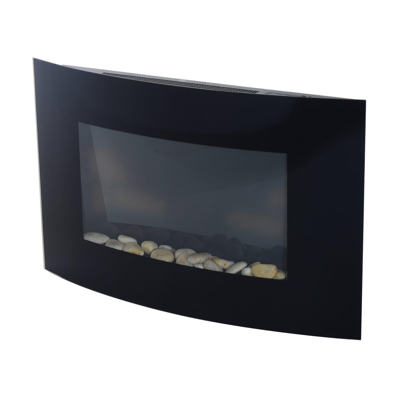 HOMCOM Stainless Steel Electric Fireplace With Tempered Glass 900 W/1800 W 65x11.4x52 Cm Black