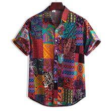 Masculino colorido manga curta solta botões havaiano casual camisa blusa de praia plus size impresso camisas 2020 verão chemise homme
