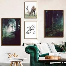 Лесной пейзаж дикий рисунок оленя на холсте скандинавский плакат