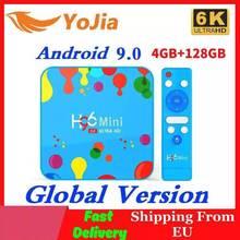 Caixa de tv allwinner h6, 4gb de ram, 128gb de rom, android 9.0, quadcore, dual, wifi, 32gb max 6k smart media player h96 mini pk tx6