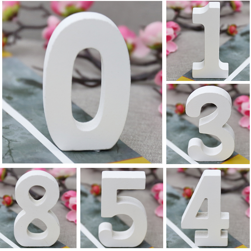 Wooden Digital Numbers Wall Stickers Free Standing 3D Decorative Wood Number DIY Sticker For Wedding Birthday Party Wall Decals