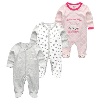0-12Months Baby Rompers Newborn Girls&Boys 100%Cotton Clothes of Long Sheeve 1/2/3Piece Infant Clothing Pajamas Overalls Cheap - Baby Rompers RFL3124, 6M