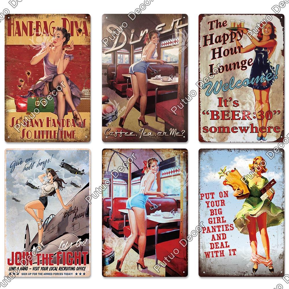 Army Girl Hot Signe Plaque Métal Rétro Vintage Pub Bar Cadeau Fantaisie