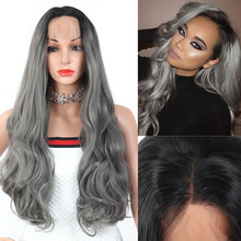YunRong Pink Purple 1B/Gray Body Wave Lace Front Wig 13*4 Glueless Synthetic Hair Lace Wigs For Women Middle Part Ombre Hair цена 2017