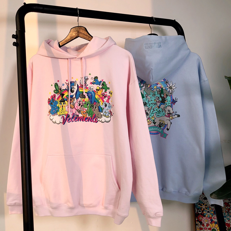 Men Women Hoodies Vetements Sweatshirts Graphic Cartoon Print Vetements Hoodie   Pink Azure High Quality Cotton Pullovers