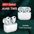 2021 Новый Air60 наушники-вкладыши TWS с Беспроводной Bluetooth наушники светильник Сенсор in-Ear Наушники с зарядный чехол