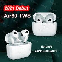 2021 novo air60 tws sem fio bluetooth fone de ouvido sensor de luz in-ear fones de ouvido com caso de carregamento