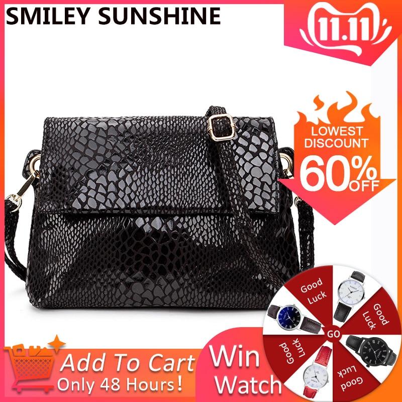 SMILEY SUNSHINE Small Women Messenger Bag Black Crossbody Bags For Women Purses And Handbags Ladies Hand Bag
