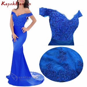 Image 1 - Off the Shoulder Lace Mermaid Bridesmaid Dress Zipper Split Tulle Train Wedding Party Gown