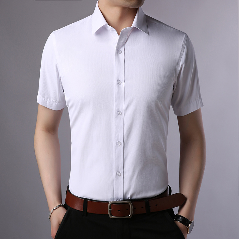 Summer White Shirt Men Formal Wear Korean-style Slim Fit Solid Color Semi-Short Sleeve Casual Shirt Business Wear With Cotton