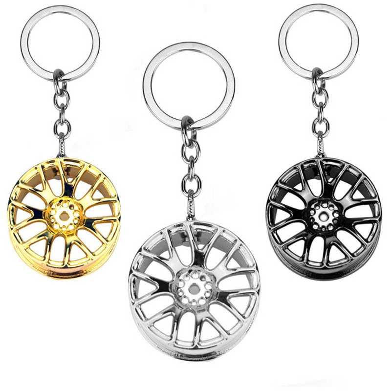 Creative Wheel Hub <font><b>Rim</b></font> Model Man'S Keychain Car Key Chain Cool Keyring Gift image