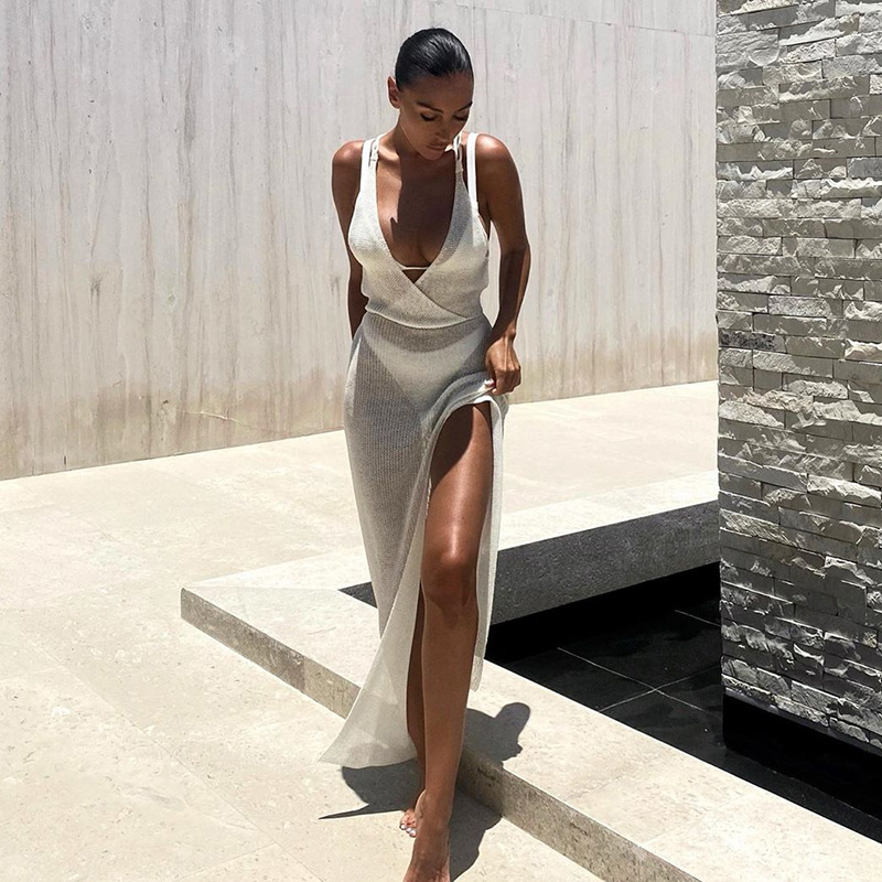 SRUBY White Sexy Beach Dress Women Hollow Out Backless Cover Up Knitted Maxi Dresses Summer See Through Side Split Sexy Dress 2
