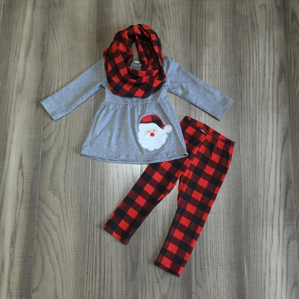 Christmas baby girls FALL/Winter 3 pieces scarf grey top christmas Santa claus plaid pants sets cotton boutique children clothes-in Clothing Sets from Mother & Kids