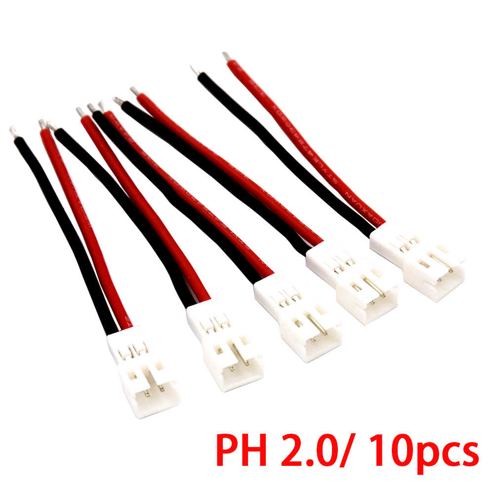 10 Pcs 50 Mm 24AWG Upgrade Tiny Whoop JST-PH 2.0 Wanita/Pria Plug Kabel Silikon untuk UR65 US65 UK65 beta65