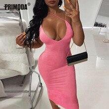 ネオンファッションセクシーな女性クラブミディドレス夏の女性のエレガント蛍光背中スパゲッティストラップボディコンドレスPR272G