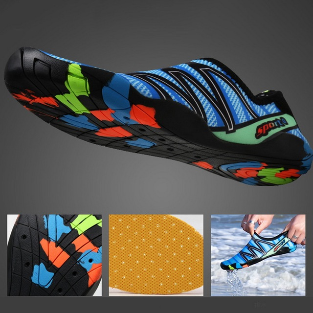 2020 Men Woman Beach Summer Outdoor Wading Shoes Swimming Slipper On Surf Quick-Drying Aqua Shoes Skin Sock Striped Water Shoes 3