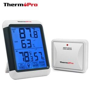 Image 1 - Thermopro tp65a 100m higrômetro digital sem fio ao ar livre temperatura umidade monitor de luz preta tela sensível ao toque estação meteorológica