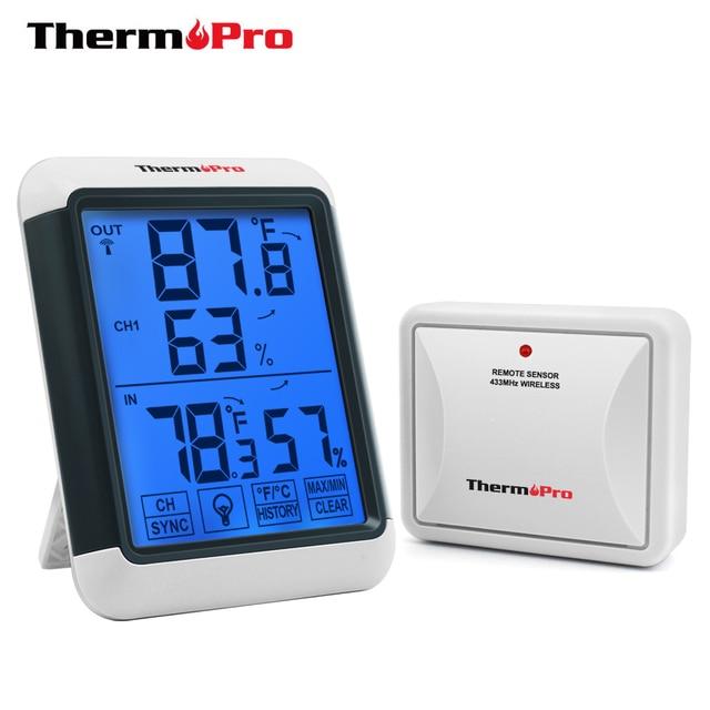 Theropro TP65A 100 متر اللاسلكية مقياس الرطوبة الرقمي في الهواء الطلق درجة الحرارة جهاز مراقبة الرطوبة ضوء أسود شاشة تعمل باللمس محطة الطقس