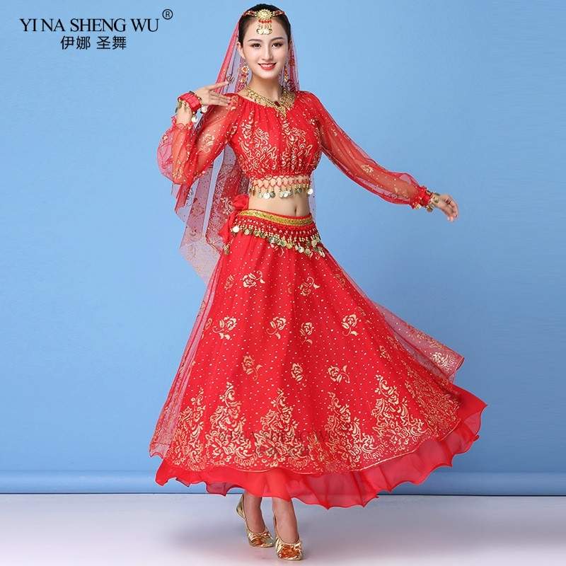 Bollywood Dress Costume Women Set <font><b>Indian</b></font> Dance <font><b>Sari</b></font> Belly Dance Outfit Performance Clothes Chiffon Long Sleeve Top+Belt+<font><b>Skirt</b></font> image