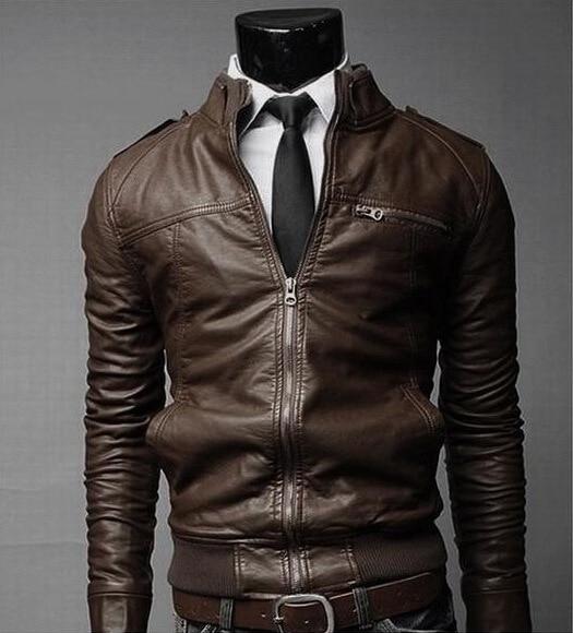 MEN'S Leather Clothing Korean-style Men Slim Fit Stand Collar Locomotive Leather Coat Jacket Y021