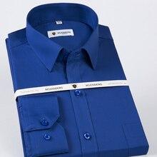 Algodão masculino clássico não ferro sólido vestido camisa único remendo bolso manga longa regular ajuste masculino formal negócios sociais camisas