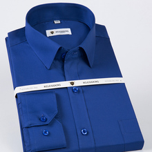 Mens Cotton Classic Non Iron Solid Dress Shirt Single Patch Pocket Long Sleeve Regular Fit Male Formal Business Social Shirts