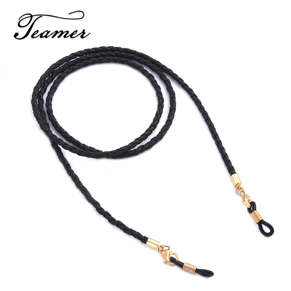 Teamer 79 Sunglasses Lanyard Strap Necklace Braid Leather Eyeglass Glasses Chain Beaded Cord Reading Glasses Eyewear Accessories